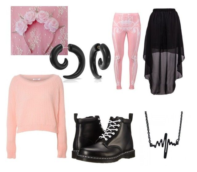 """""""Pastel Goth Skeleton"""" by gryffindorgirl-i ❤ liked on Polyvore featuring Glamorous, Dr. Martens and Bling Jewelry"""