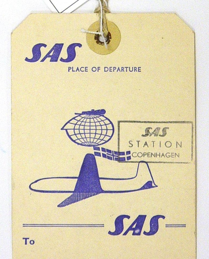 Baggage Labels - Scandinavian Airlines System, Travel Details, circa 1950s