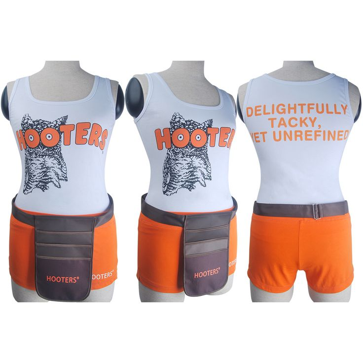 Hooters girls uniform sexy outfit bar maid waiting staff restaurant shorts top bag halloween costume white