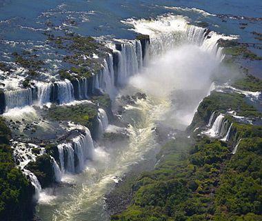 beautiful waterfalls: Iguazu Falls, Brazil and Argentina. Larger, wider than Niagra Falls