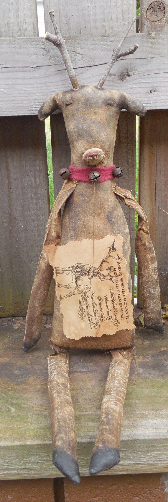 Primitive christmas craft ideas - 1 Primitive Christmas Rudolph Reindeer Animal By Crowsroostdolls