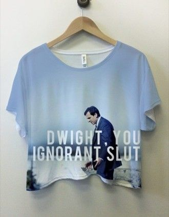 shirt top crop tops the office t-shirt blue dwight schrute dwight t-shirt