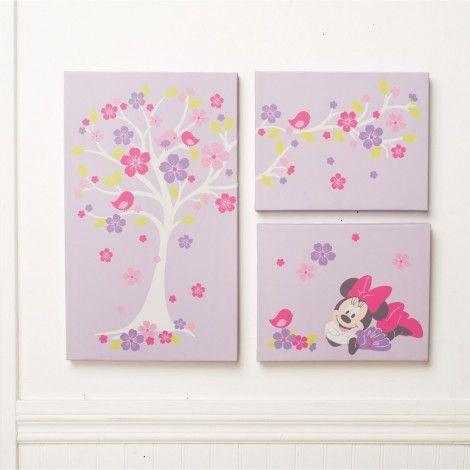 MINNIE MOUSE Love Blossoms Premier 3-Piece Canvas Wall Art