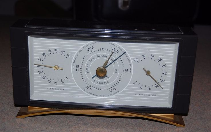 "Vintage ""Airguide"" Desktop Weather Station with Barometer, Temperature and Relative Humidity Gauges, in a Art Deco / Retro / Mid-Century Style, black plastic or Bakelite case. $19 starting bid"