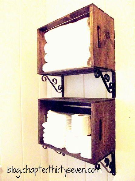 bathroom shelving made from crates and brackets, bathroom ideas, home decor, repurposing upcycling, shelving ideas, small bathroom ideas