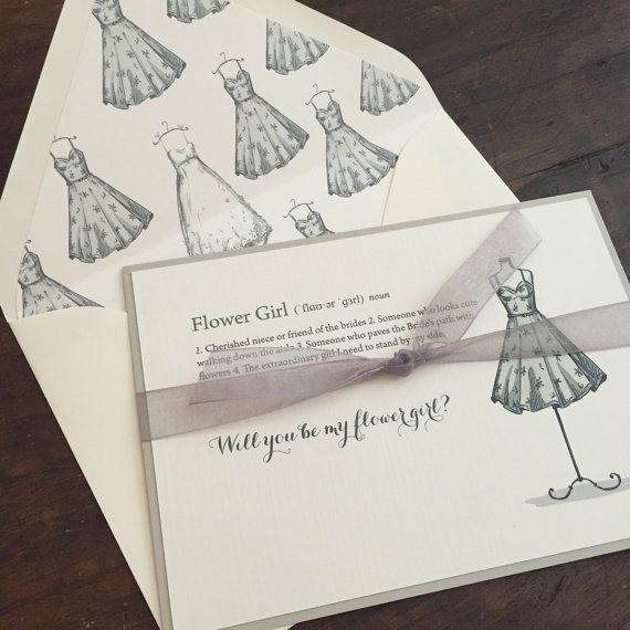 Bridesmaid Letter // Elegant and Timeless // Bridal Party Invitations // Flower Girl Letter // Maid of Honor letter // Vintage // Lace // Ribbon // Dresses // Custom // Etsy