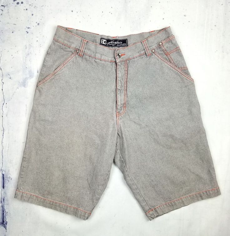 Karl Kani Jeans Relaxed Baggy Shorts Thigh Pockets Gray Denim Jeans Size 36 NEW #KarlKani #Denim