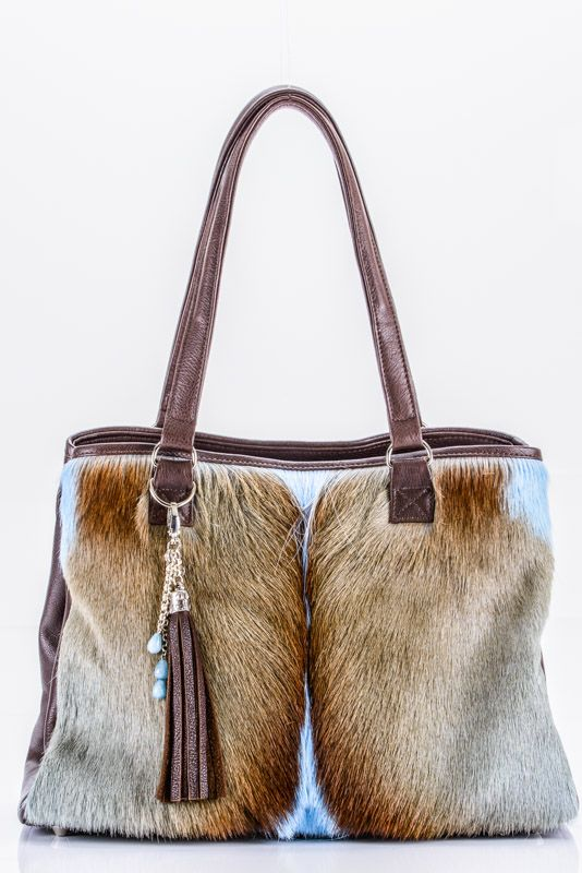 LEATHER AND SPRINGBOK TOTE WITH SILVER/PLATED TASSEL KEYRING