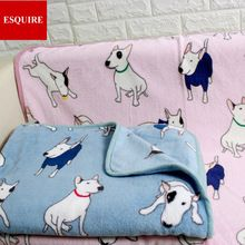 coral fleece soft many dogs bull terrier dog blanket pet throw blankets grey pink 75x100cm &140x200cm(China (Mainland))