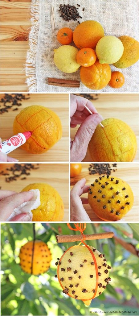 Learn how to make fall/winter pomanders for a breath of citrusy fresh air! Kid-friendly fall project!