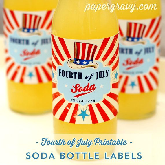 Printable 4th JULY  Soda Bottle Labels by papergravystore on Etsy, $6.00