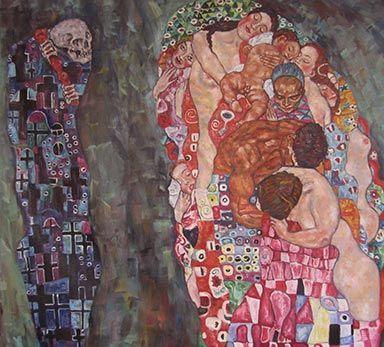Ölgemälde Gustav Klimt Leben und Tod |  Gustav Klimt  Leben und Tod Ölgemälde | Ölgemälde Gustav Klimt  Leben und Tod |  Leben und Tod | Leinwandbild Gustav Klimt | Kunstkopie | Kunstkopien | Gemäldereplikation | Reproduktion | Alte Meister | Öl auf Leinwand | handgemalt  | Ölgemälde Alter Meister |Gemälde vom Foto | Auftragsmaler | Ölgemälde Kopien | https://www.paintify.de/de/kunstmarkt/alte-meister