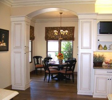 San diego nooks and cabinets on pinterest for Dining room designs with pillars