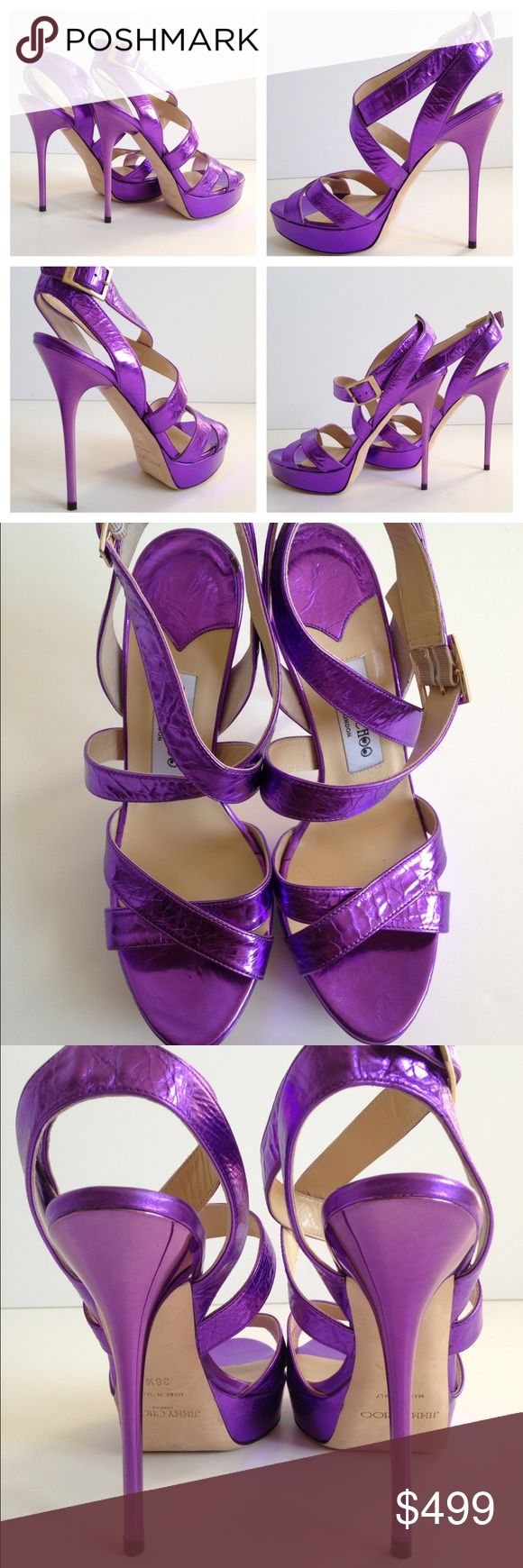 """Jimmy Choo Vamp Purple Sandal Jimmy Choo Vamp Leather Platform Sandals. Purple leather platform Sandals. Crackle leather covered heel and Platform. Covered heel measures 5"""" (120 mm). Platform 1"""" (20 mm). Gold-toned logo buckle on the outside. Rounded cap. Leather upper. Leather in-sole and sole. Made in Italy. MSRP $850. Condition: floor/display item...in excellent condition!!!...purchased from a high end fifth avenue store... Blackline on the inside label done by the department store to…"""