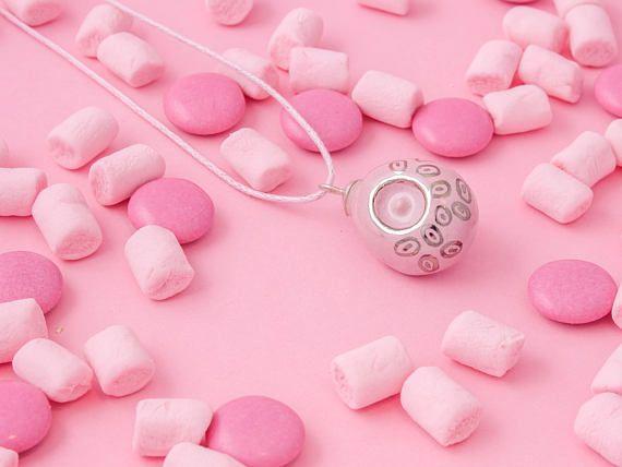 Blush Pink Platinum ceramic pendant necklace, pink pottery pendant, pink clay pendant, fun pink pendant necklace, pink pendant necklace