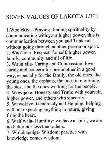 7 Values of Lakota Life
