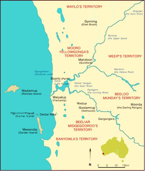 Betrayal  Yagan, a prominent Noongar man, was involved in early conflict with settlers but also had good relations with some of them.  This site has a very short history of Yagan and his murder, also a map of Noongar placenames around Perth Western Australia