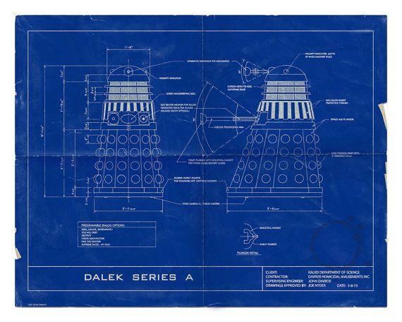 """Dr. Who Dalek humorvoll 16 x 20 Blueprint-Poster. Limitierte Auflage, GEQUÄLT. """"Keine fliegenden Daleks hier"""" Veriant"""