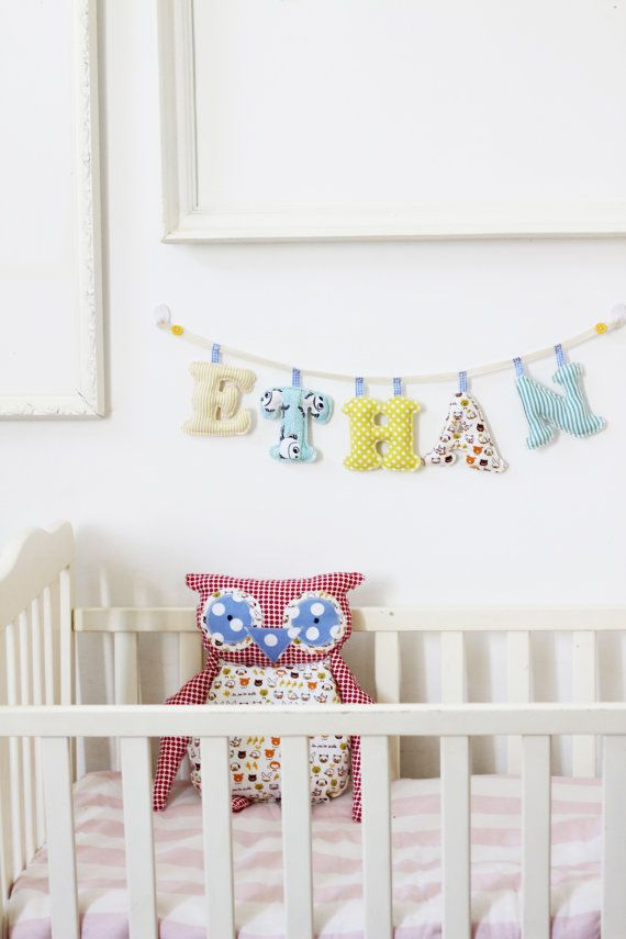 5 letters boy's room name banner / Made To Order Baby Boy Name Wall Art on Etsy, $50.00