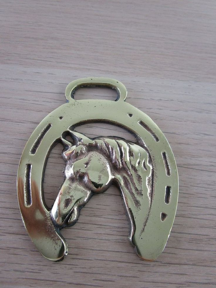 Vintage/Antique Polished Horse Harness Brass horse's head framed in horse shoe 2