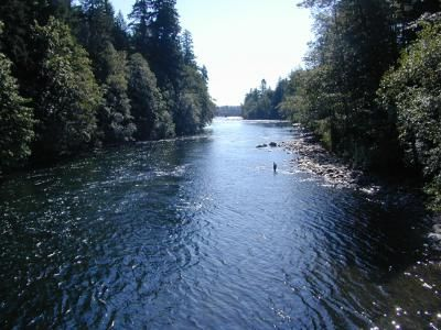 Fishing on the Campbell River on Vancouver Island BC, Canada