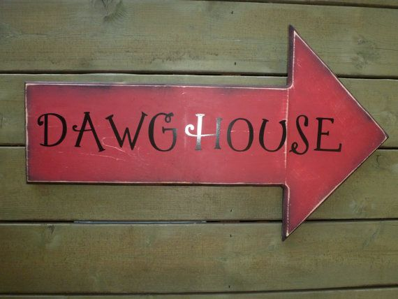 Georgia Bulldog sign DAWGHOUSE by HaloDesignInteriors on Etsy