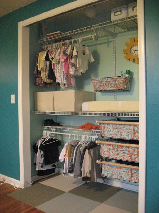 Closet Idea - take off bifold doors, paint interior.  Install wire shelving, line baskets with coordinating fabric.