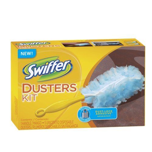 Swiffer Disposable Cleaning Dusters, Unscented Starter Kit  (Packaging May Vary) by Swiffer. $6.92. Thousands of fluffy fibers feature Dust Lock Adhesive. Traps and locks dust and allergens. Starter kit includes 1 handle and 5 unscented cleaning Dusters.. Swiffer Dusters trap and lock dust and allergens* with thousands of fluffy fibers. That's because each fluffy, flexible fiber features Dust Lock Adhesive that traps and locks dust away for good. The unique fluffy fiber...