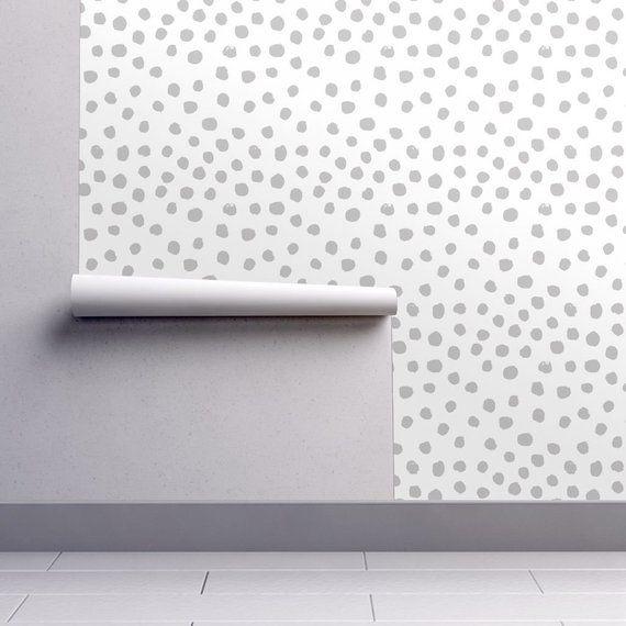 Gray Dots Wallpaper Dots Grey Minimal Spots By Etsy Grey Dot Wallpaper Dots Wallpaper Self Adhesive Wallpaper