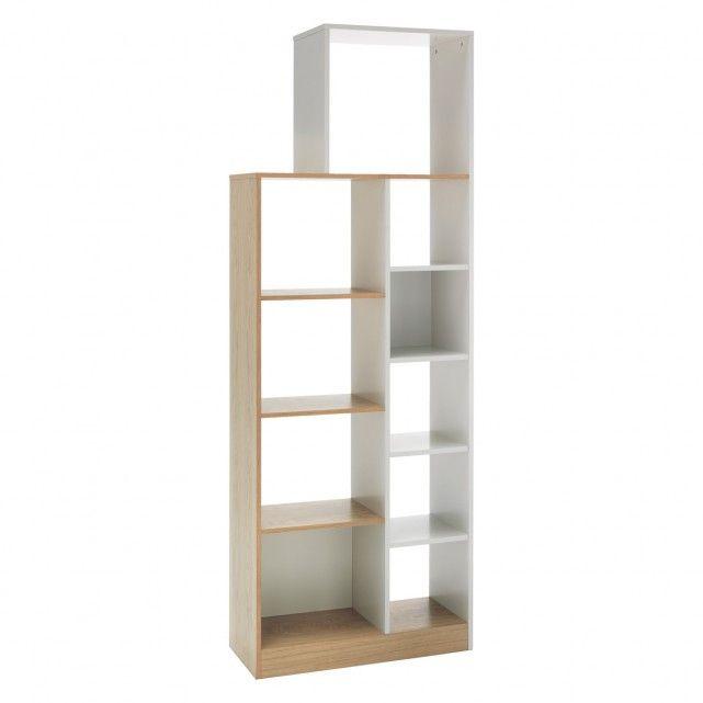 MILES Oak and linen white tall shelving unit