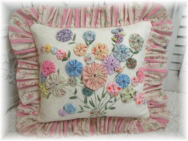 Old fashioned Cottage YO YO bouquet pillow                                                                                                                                                                                 More