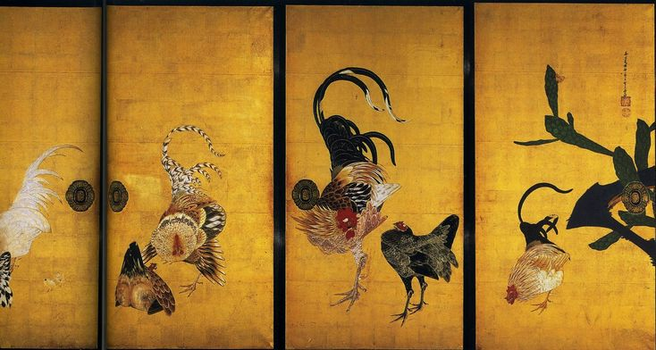 Detail. Cactus and Roosters a/k/a Cactus and Domestic Fowls 1789. Ito Jakuchu, Fusuma. Saifuku Temple. Japan.