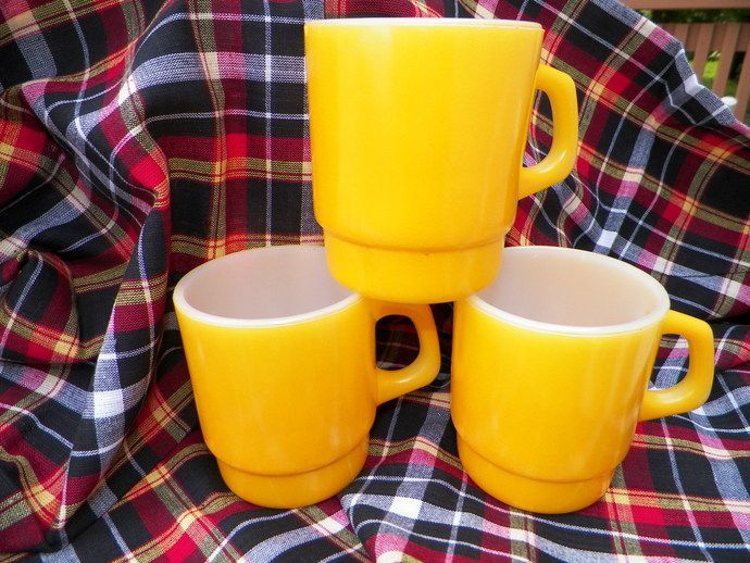 Anchor Hocking Fire King Deep Yellow Mugs Set of Three by frugallyfoundforyou, $15.00 USD