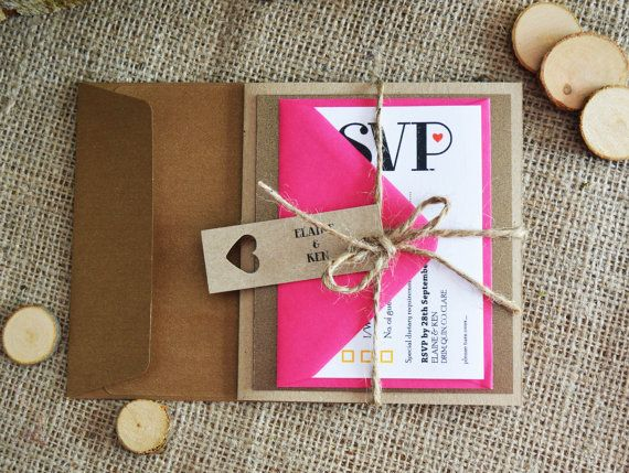 Fuschia/Bronze Wedding Invitation / Rustic Metallic Kraft Wedding Invitation Suite with  twine - 'Fuschia loves Bronze'