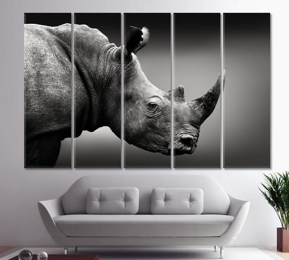 Rhinoceros Rhino Canvas Art Poster Print Home Wall Decor