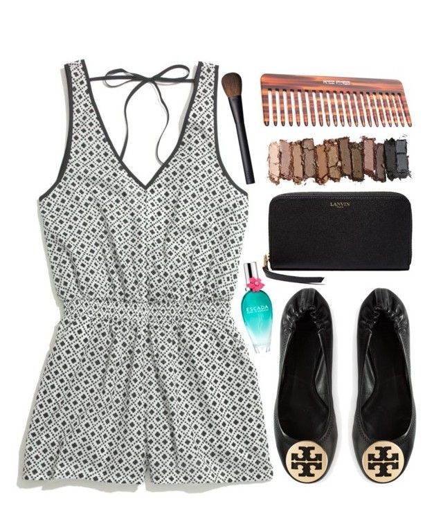 Printed Romper by preppyoutfitsdaily on Polyvore featuring Madewell, Tory Burch, Lanvin, Urban Decay, NARS Cosmetics, ESCADA and Mason Pearson