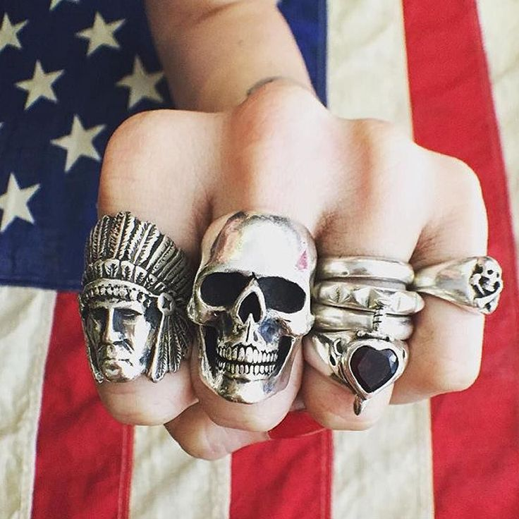 4th of July weekend starts today! We are open 11-7 today & 12-6 tomorrow, 7955 Melrose Ave, LA  L-R Large Indian Chief Ring [link in bio], Large Anatomical Skull Ring, 4mm Plain Band, Studded Band, Heart & Dagger Ring w/Garnet & Small Skull &...