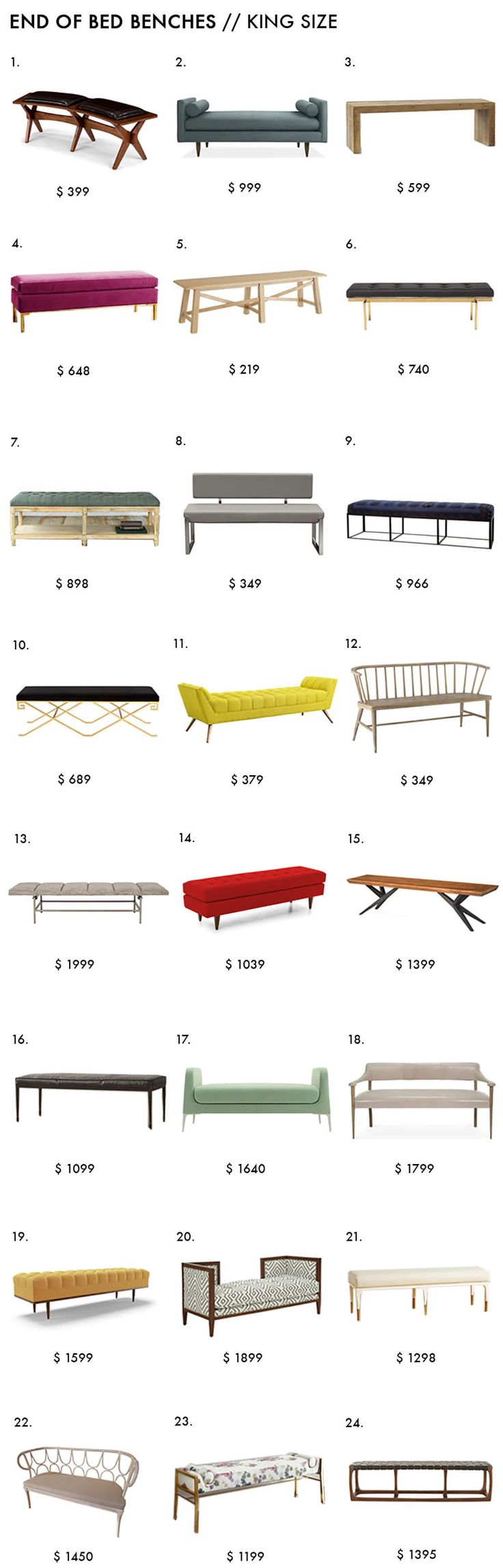 End of Bed Benches (Emily Henderson)