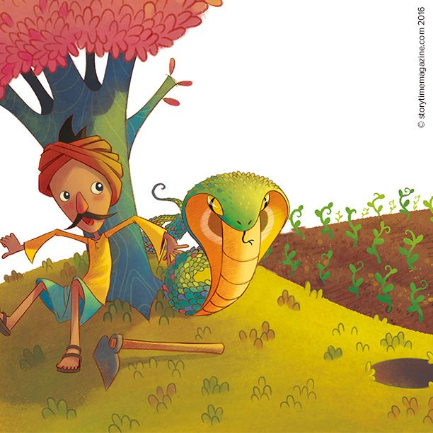 The gold-giving snake fable from Storytime Issue 23, with art by Adilson Farias (http://ailustra.blogspot.co.uk) ~ STORYTIMEMAGAZINE.COM)