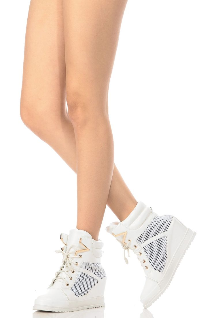 55.99 White Faux Leather Lace Up Sneaker Wedges @ Cicihot Women Sneakers-Fashion Sneakers,Casual Sneakers,Wedge Sneakers,Platform Sneakers,Hidden Wedge Sneakers,High Top Sneakers,Lace Up Sneakers,Studded Sneakers,Buckle Sneakers
