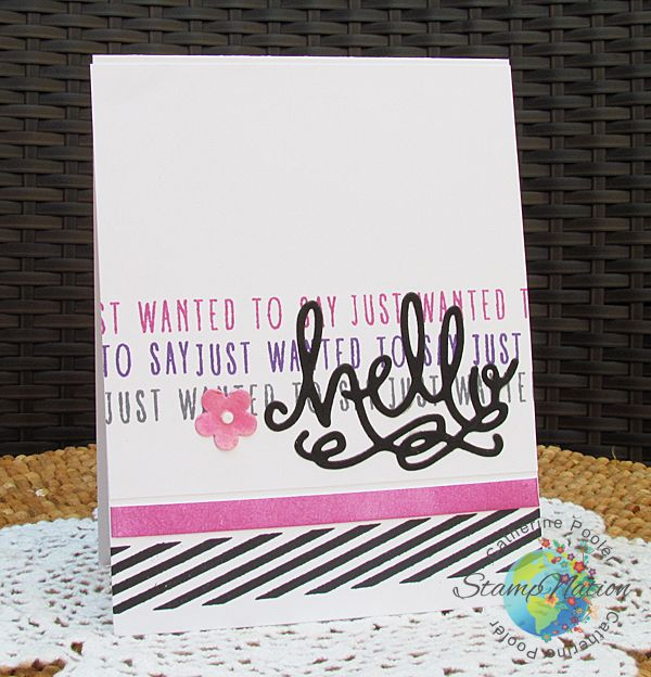 I love this color combo!  Word clustering for backgrounds - video on the blog!  http://catherinepooler.com/2016/05/30/hello-kiss-cards-background-stamping-with-words/