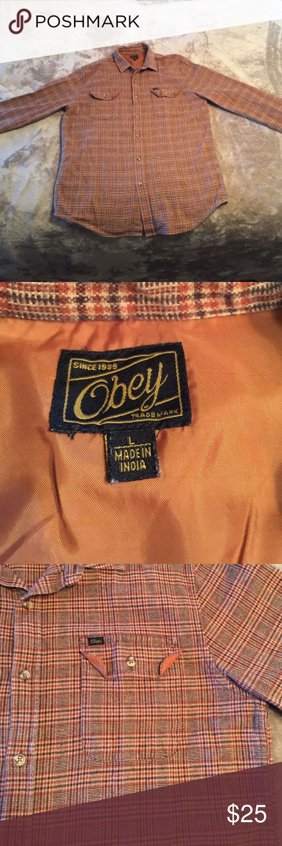 Obey Flannel In good condition. High quality flannel material. Obey Shirts Casual Button Down Shirts