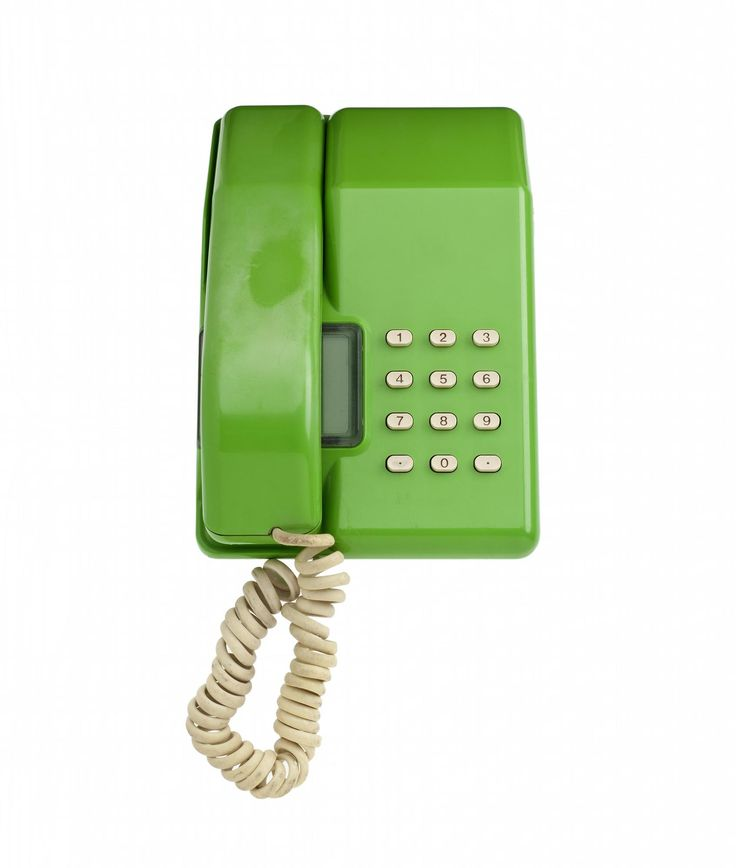 """Viscount"" desk top telephone of lime green plastic, with white plastic pushbuttons, made by STC for British Telecom, 1983."