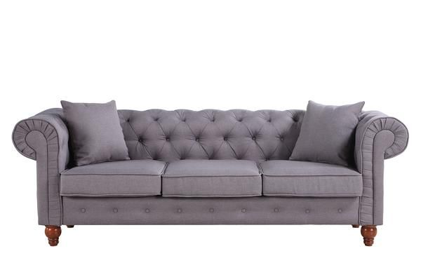 Stratford Classic Grey Fabric Chesterfield Sofa