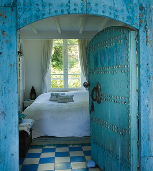 Moroccan studded door to an oasis of calm: Doors, Decor, Interior, Turquoise, Dream, Color, Bedrooms, House