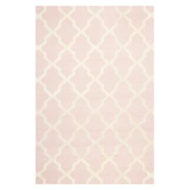 "Define a cozy reading nook or anchor your dining set with this hand-tufted wool rug, showcasing a trellis motif in light pink and ivory.  Product: RugConstruction Material: 100% WoolColor: Light pink and ivoryFeatures:  Hand-tuftedMade in IndiaPile Height: 0.63""   Note: Please be aware that actual colors may vary from those shown on your screen. Accent rugs may also not show the entire pattern that the corresponding area rugs have.Cleaning and Care: Professional cleaning recommended"