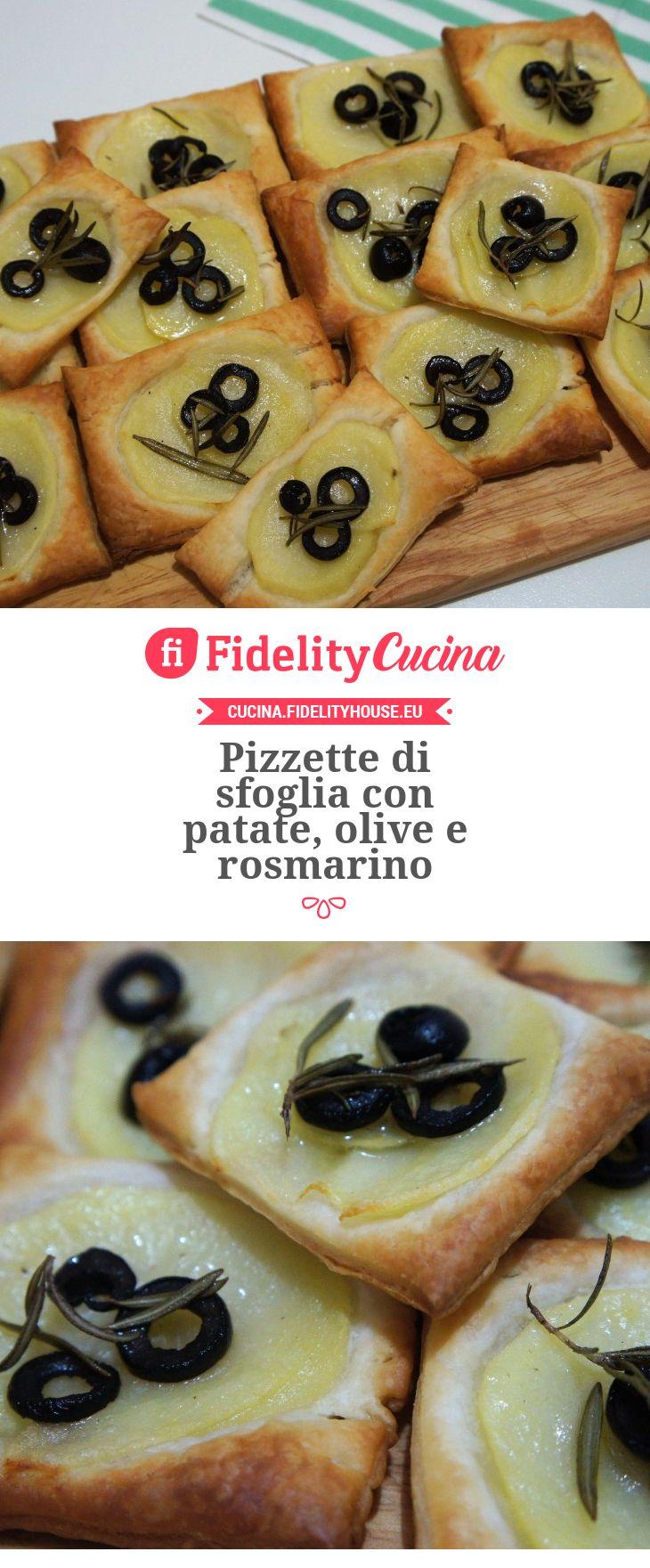 Pizzette di sfoglia con patate, olive e rosmarino