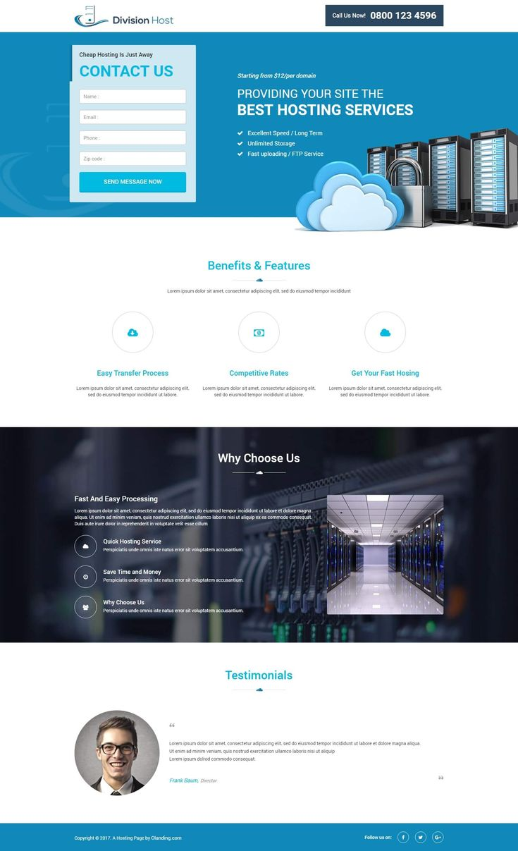 Web Hosting Responsive Landing Page Design Template To Boost Your Hosting Package Sale - oLanding