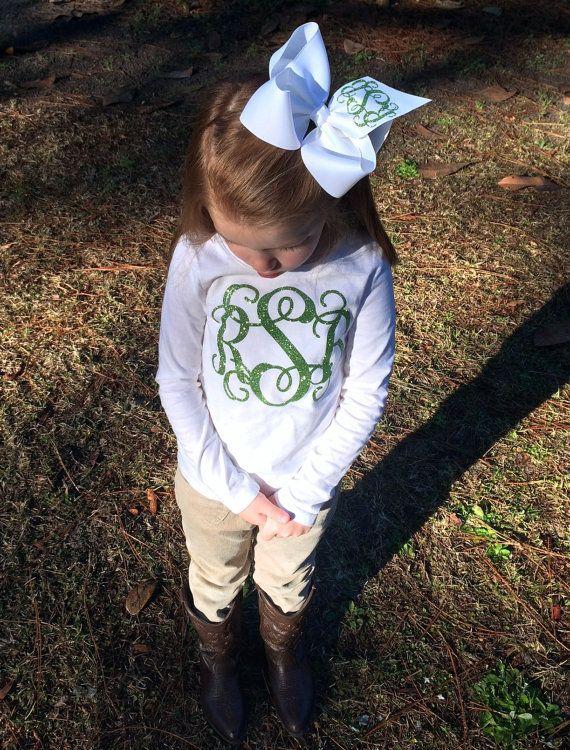 Little girls, Women, Teens Glitter Monogram T Shirt and Monogrammed Hair Bow Monogrammed gifts, Bridesmaids t shirts, glitter intertwined vine monogram long sleeve shirt