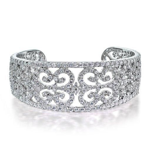 Bling Jewelry Art Deco Style CZ Bridal Cuff Bangle Bracelet 8 Inch